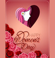 happy womens day greeting card with female face vector image