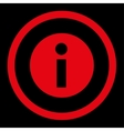 Information flat red color rounded icon vector image