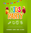 kids party invitation design template child vector image