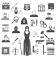 Law And Justice Black Icons Set vector image vector image