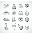 Logistic Hand Drawn Icons Set vector image vector image