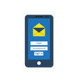 mail client on the smartphone screen vector image vector image
