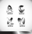 Metal 3d alphabet letter logo set vector image vector image