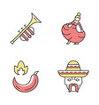 mexican culture color icons set vector image