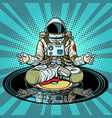 music for meditation and yoga astronaut meditates vector image