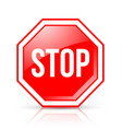 octagonal and glossy stop road sign placed on vector image