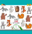 one a kind game with cartoon animal characters vector image vector image