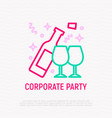open bottle and glasses thin line icon vector image vector image