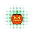 Pumpkin icon in comics style vector image vector image