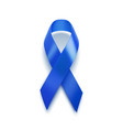 realistic blue ribbon 3d icon isolated on white vector image vector image