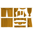 realistic golden curtains luxury fabric silk vector image vector image
