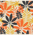 retro summer foliage seamless pattern vector image vector image