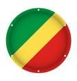 round metallic flag of congo with screw holes vector image vector image