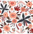 seamless pattern with flowers berries and leaves vector image vector image