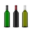 set of 3 realistic bottles of wine without vector image vector image