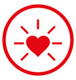 shiny love heart rounded icon vector image vector image