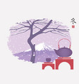 teapot and cup on background winter landscape vector image
