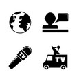 tv news simple related icons vector image vector image