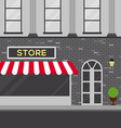 Urban scene with store building flat design vector image