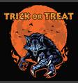 werewolf halloween poster character design vector image