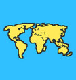 yellow and blue map with black contour vector image