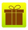 gift box sign brown icon at green-yellow vector image