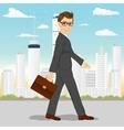 businessman walking through the city vector image