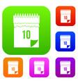 10 date calendar set color collection vector image