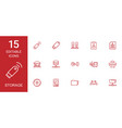 15 storage icons vector image vector image