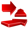 3d red arrow set vector image vector image