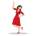 a woman in a red dress in a dance pose passionate vector image
