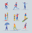 activitie people in actions and motions set vector image vector image