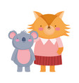 back to school fox and koala with clothes cartoon vector image vector image