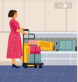 baggage claim cartoon woman in airport traveler vector image