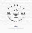 bakery logo with thin line icon of cupcake vector image vector image
