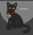 black cat happy friday 13th cartoon vector image vector image