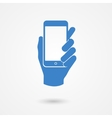 Blue icon with hand holding a smart mobile phone vector image vector image
