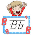 boy and flashcard for letter b vector image vector image