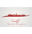 Cardiff skyline in red vector image vector image