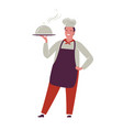 chef with tray symbol restaurant food concept vector image vector image