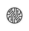 cirlcle circuit board icon images vector image