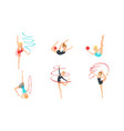 colection gymnast girls performing rhythmic vector image