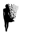 Colorful silhouettes of woman with birds