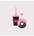 cup of coffee and delicious chocolate donut vector image