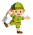 cute hiker holding shovel vector image vector image