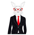 cute rabbit boy in elegant black suit with glasses vector image vector image