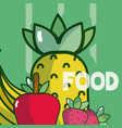 delicious food on colorful background vector image vector image