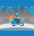 delivery guy on scooter vector image vector image