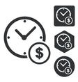 Dollar time icon set monochrome vector image vector image