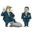 donald trump and xi jinping cartoon vector image vector image